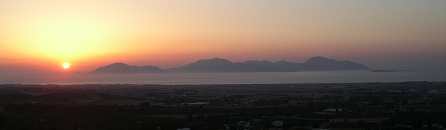 Sunset seen from Kos Island Greece